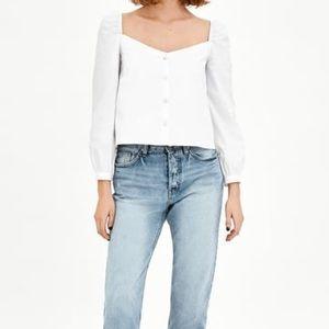 NWT Zara White Poplin Top with Buttons